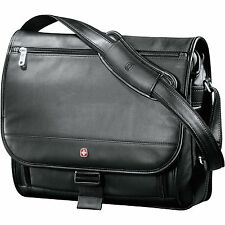 "Wenger Executive Leather Compu-Saddle Bag, 17"" Leather Laptop Bag SwissGear -New"