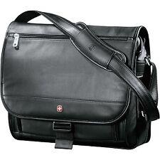 "Wenger Executive Leather Compu-Saddle Bag, 17"" Leather Laptop Bag SwissGear -New"
