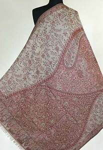 """Large Wool Paisley India Shawl """"Best on the Net"""" Pashmina Style Brown 80"""" Long"""