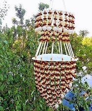 "Ethnic Wind Chime Handmade Floral Bead Strings Outdoor Indoor 32""  VTG Indonesia"