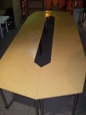 3.4m,Folding Conference Table,Boardroom Table,Meeting Table, Oak Finish 8 Piece