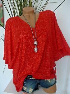 Sheego Damen Shirt Bluse Tunika Kurzarm rot gepunktet (061) (1 353) Übergröße