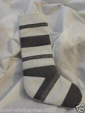 """Christmas Stocking, Gray and White Wool, About 24"""" Top to Toe Tip"""
