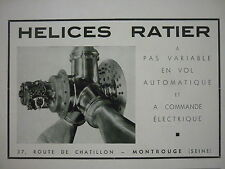 1938 PUB RATIER MONTROUGE HELICE HELICIER PROPELLER AVION AIRCRAFT FRENCH AD