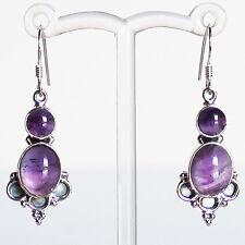 925 Sterling Silver Semi-Precious Natural Purple Amethyst Drop Earrings