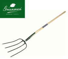 Solid Forged Manure Fork 4 prong High Quality Greenman 4ft Ash Handled