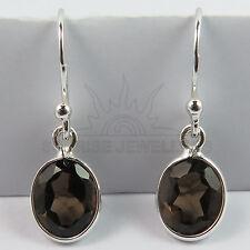 Original SMOKY QUARTZ Gemstones Lovely Cute Earrings 925 Solid Sterling Silver
