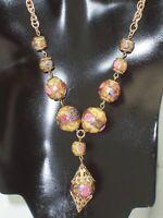 Vintage Gold Tone Lampwork Wedding Cake Art Glass Bead Necklace Filigree Dangle