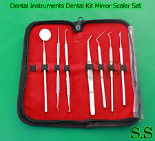 Dental Instruments Dental Kit Mirror Scaler Set 7pc Dentist Leather Case PR-123