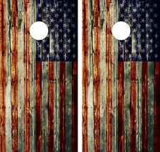 WOOD AMERICAN FLAG 2 .Cornhole Board Game Decal Wraps Vinyl Sticker USA