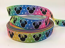 By the Yard 7/8 Inch Disney Minnie Mouse Rainbow Colors Grosgrain Ribbon Lisa
