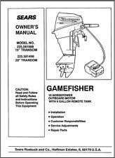 Sears Gamefisher 15HP 225.582508 & 225.581498 Operator Maintenance Parts Manual