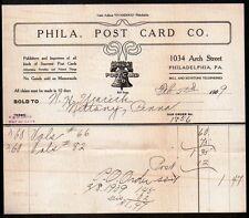 Phila Post Card Co Philadelphia PA 1909 Vintage Letter head - Billhead RARE