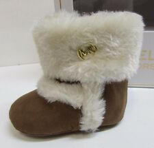 """Michael Kors Size 2 Tan Fur Boots New Baby Girl Shoes 3 - 6 Months 3.75"""" Insole"""