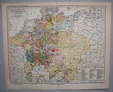 Alte Karte, Deutschland n.d. westfälischen Frieden 1648 - Lithographie 1890