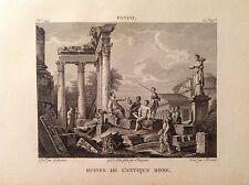 ROVINE DELL' ANTICA ROMA  Incisione origi. XIX secolo PANINI