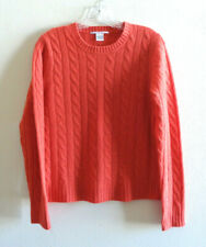 Evelyn Grace Cashmere Sz L Orange Cable Sweater Top Crewneck