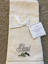 Pottery Barn Foundations Lavender Embroidered Guest Towel New Single