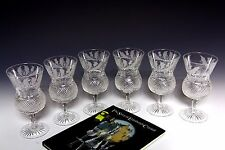 6x EDINBURGH CRYSTAL THISTLE LARGE WATER / WINE GOBLETS FIRST QUALITY & SIGNED