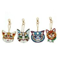 4PC Diamond Painting Key Chain Pendant DIY Cat Set Resin Key Rings Keychain Gift
