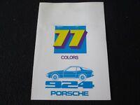 1977 Porsche 924 Color Chart Sales Catalog Paint Seat Carpet US foldout Brochure
