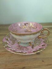 VINTAGE Royal Sealy China Teacup & Saucer,Lilac/pink with gold trim....3 leg