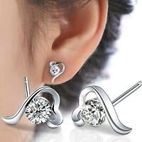Europe and America New Fashion 925 Silver Lucky Heart AAA CZ Fine Earrings Gift