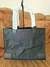 TORY BURCH Ella Packable Tote Black Nylon Saffiano Leather Zipper Closure NWT
