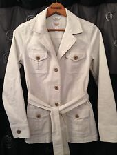 Talbots Stretch Beige Button Up Belted Jacket Size 4 NWOT