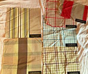 """VILLA ROMO Stripe & Plaid 6 pcs Mixed Lot 12"""" Cotton Blend Fabric Samples"""