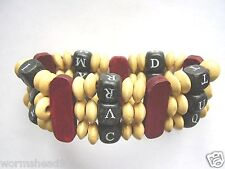 Red, black & biege chunky mixed wood bead 7 inch stretch band bracelet