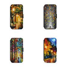 Oil paint Rain evening leafs Autumn Season L119 Flip Wallet phone case