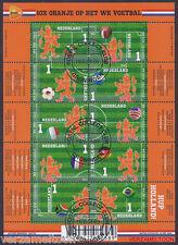 "NVPH V 3187 - 3196a  10 X ORANJE OP HET WK VOETBAL 2014 gestempeld ""1e UITGAVE"""