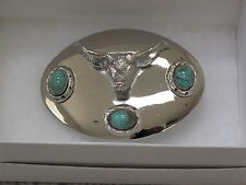 LONG HORN STEER WITH TURQUOIS STONES Rodeo Cowboy Nickel Silver Belt Buckle NEW