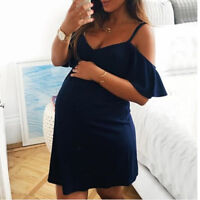 Fashion Women Pregnant V-Neck Ruffles Short Sleeve Nursing Maternity Camis Dress