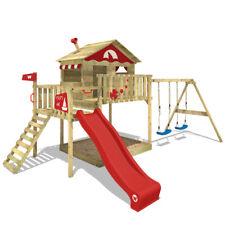 WICKEY Spielturm Klettergerüst Smart Coast mit Doppelschaukel & roter Rutsche