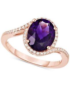 0.88ct Natural Round Diamond Amethyst 14K Rose Gold Wedding Cocktail Ring Size 7