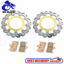 Wave Front Brake Disc Rotors & Pads Kit For Yamaha YZF R1 98-03 R6 99-02 Gold
