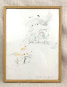 Original Pencil Drawing Sketch Framed British Royal Academy Artist French Garden