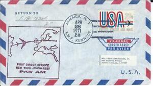 First Airmail Flight New York AMF - Bucharest April 28 1971 AAMC#F18-430f