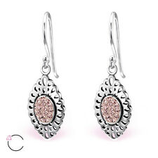 Sterling Silver Pink Marquise SWAROVSKI Elements Drop Earrings