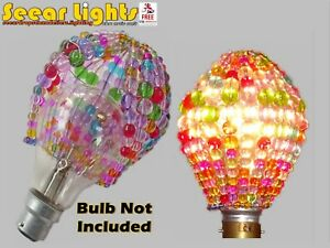 PASTEL CHANDELIER GLASS BEADS CRYSTALS DROPS LIGHT BULB COVER DROPLETS SHADE