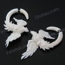 "2 5/16"" FAKE GAUGE WHITE BISON BONE PHOENIX BIRD CARVING POST earrings"