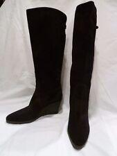 Salvatore Ferragamo black suede wedge boot size 7