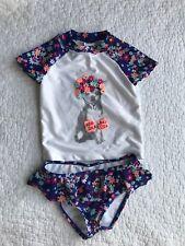 Gymboree Girl's 3T Swimsuit 2 Pc Rashguard Puppy Floral Blue White Chihuahua