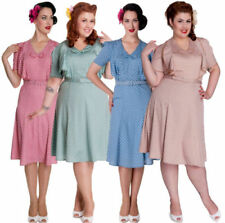 Rockabilly Knee Length Polyester Dresses for Women