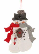 "Raz Imports SNOWMAN COUPLE 6"" Christmas tree ORNAMENT claydough flat 3516131"
