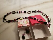 Earrings and Necklace New Box Premier Designs Jewelry Mulberry Hematite Plated