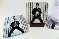 Elvis Presley Coasters Metal.Set of 4 with Mahogany Stand.