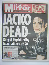 "MICHAEL JACKSON ""Daily Mirror"" 26th June 2009 - 6 pages reporting singers death"